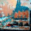 Historie, Stadt, Acrylmalerei, Abstrakt