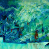Sonne, Acrylmalerei, Grün, Landschaft