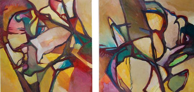 Feucht, Ölmalerei, Abstrakter expressionismus, Gras, Farben, Malerei