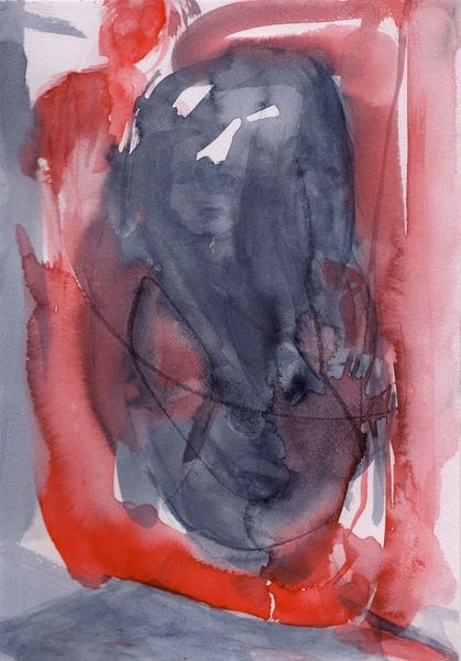 Rot, Surreal, Abstrakt, Figural, Aquarell
