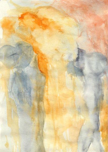 Abstrakt, Mond, Surreal, Figural, Gelb, Aquarell
