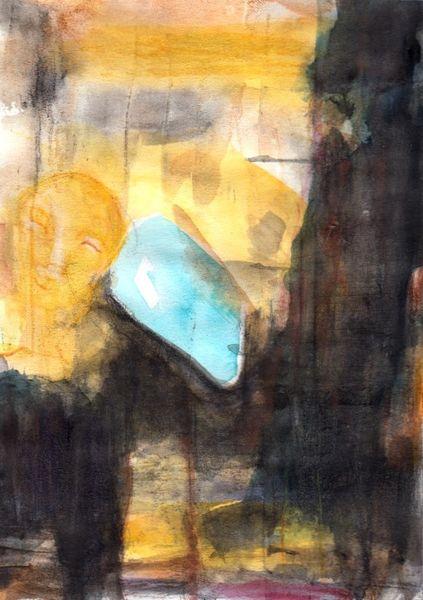 Braun, Gelb, Surreal, Figural, Mond, Abstrakt