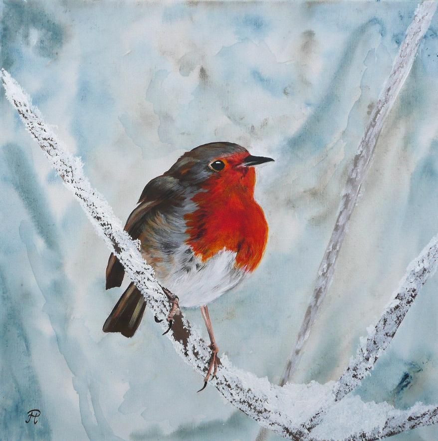 farbklecks im schnee eis singvogel vogel zugv gel von petra h rsch bei kunstnet. Black Bedroom Furniture Sets. Home Design Ideas