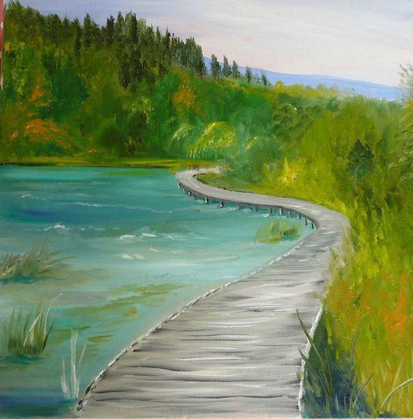 Türkis, Brücke, Wald, See, Berge, Meer