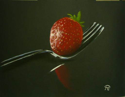 Nüsse, Erdbeeren, Obst, Früchte, Besteck, Gabel
