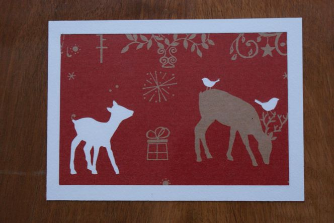 Glückwunschkarte, Reh, Hirsch, Silhouette, Stolz, Weihnachten