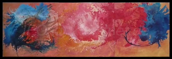 Universum, Sonne, Zufall, Abstrakt, Flüssig, Triptychon