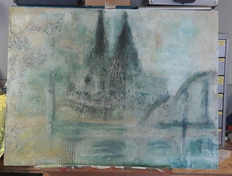 Acrylmalerei, Eisengrund, Spät, Köln, Das kommt davon, Krieg