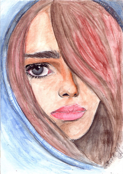 Dame, Langeweile, Aquarellmalerei, Zeichnungen, Portrait