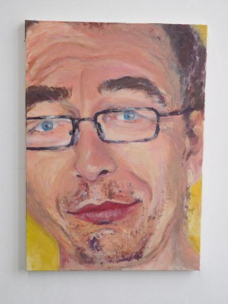 Mann, Portrait, Lächelnd, Malerei