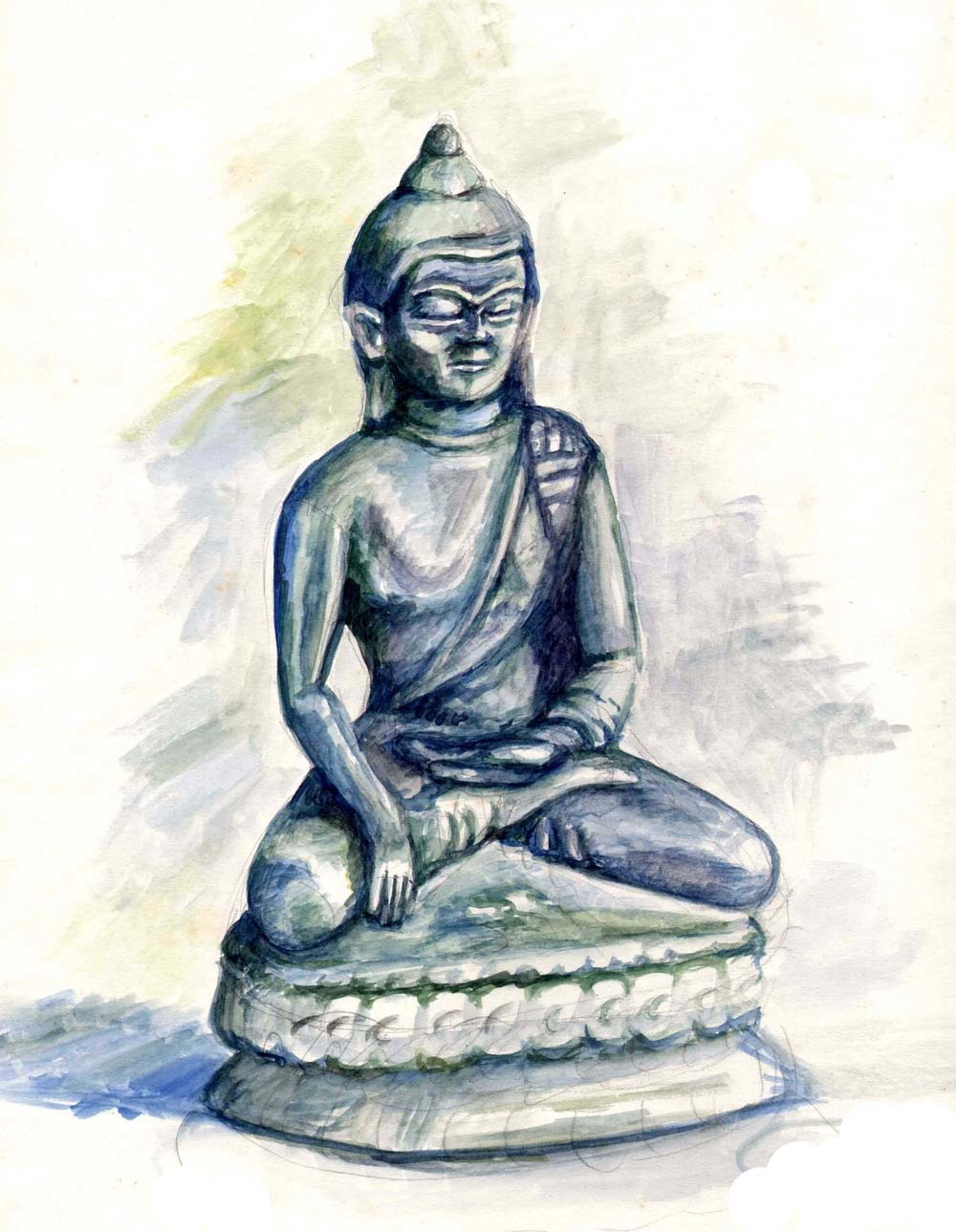 image buddha statue indien aquarellmalerei von nicole zeug on kunstnet. Black Bedroom Furniture Sets. Home Design Ideas
