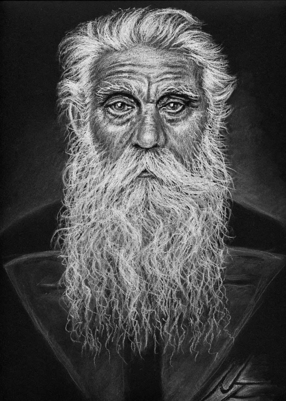 Bild Portrait Kreide Alter Mann von Nicole Zeug bei KunstNet