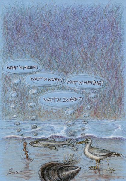 Muschel, Tiere, Cartoon, Karikatur, Möwe, Watt