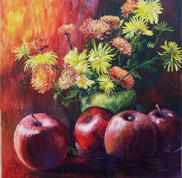 Blumen, Obst, Strauß, Apfel, Rot, Stille