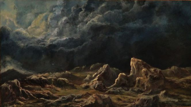 Felsen wolken dunkelheit, Malerei