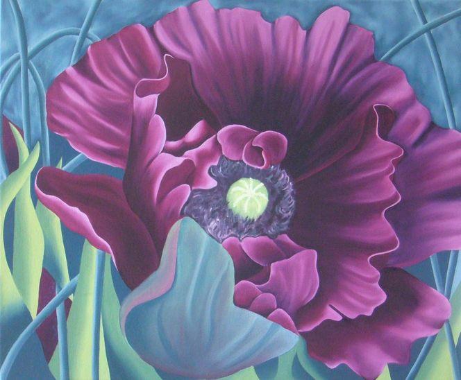 Lila, Ölmalerei, Mohn, Blüte, Natur, Blumen