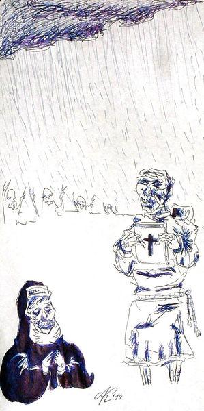 Menschen, Glaube, Weltuntergang, Zeichnungen, It