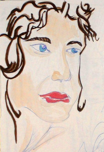 Frau, Weiblich, Gesicht, Skizze, Haare, Malerei