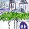 Kirche, Grün, Aquarellmalerei, Stadt