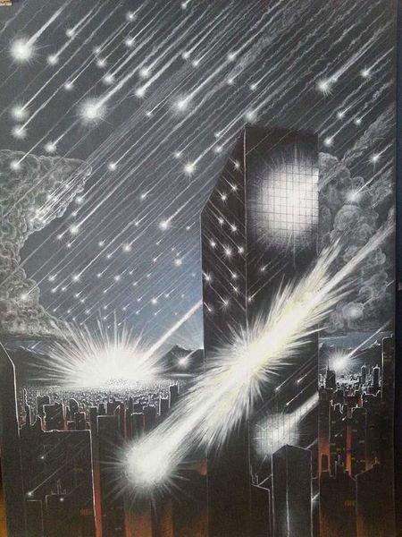 Stadt, Asteoridenschauer, Meteor, Untergang, Einschlag, Zeichnungen