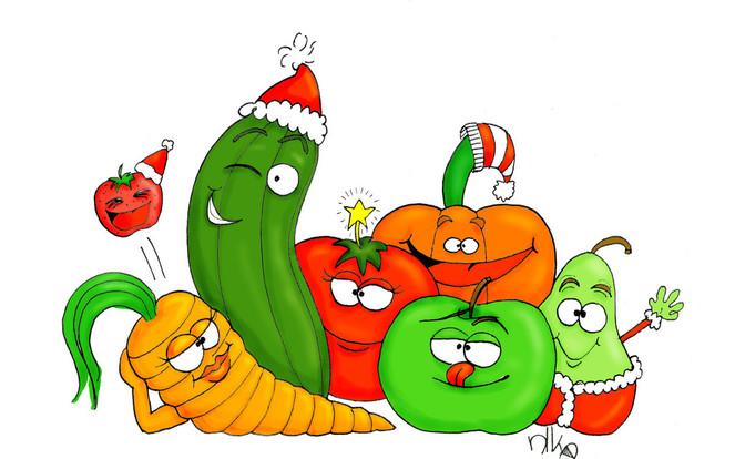 Birne, Grün, Obst gemüse, Erdbeeren, Gurke, Paprika