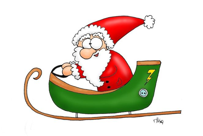 Weihnachtsmann, Schlitten, Elektro, Grün, Weihnachten, Illustrationen