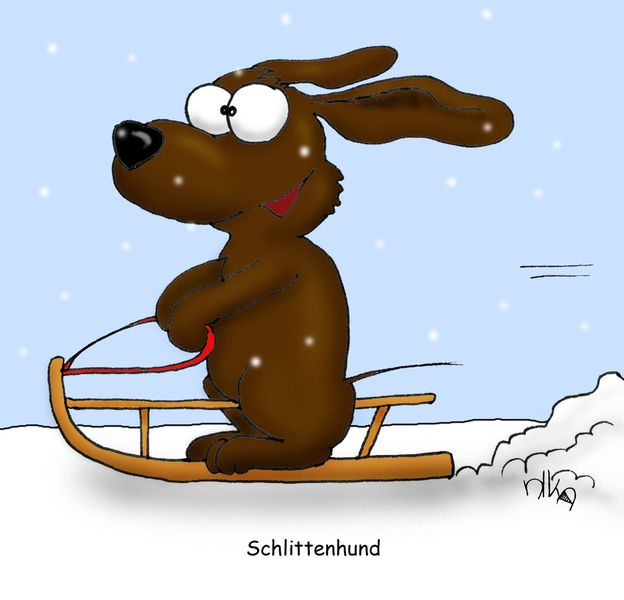 Schlittenhund, Hund, Schlitten, Schnee, Winter, Illustrationen