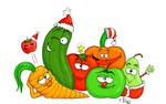 Gesunde Weihnachten - apfel birne erdbeere gemüse gesund grün gurke möhre obst paprika rot tomate weihnachten