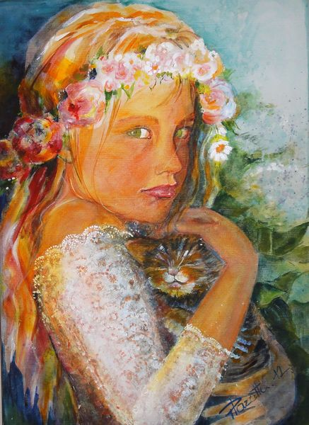 Mädchen, Katze, Blumen, Romantik, Malerei, Schutz