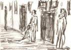 Franz kafka, Prozess, Zeichnungen, Kohlezeichnung