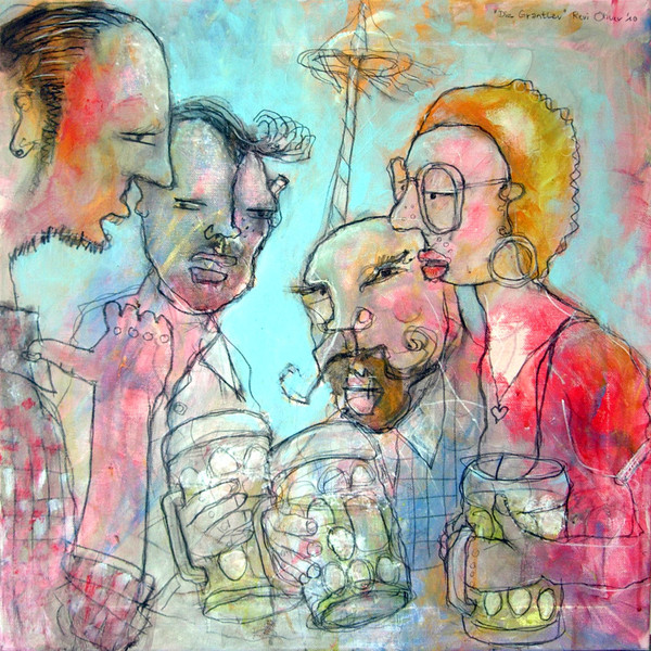 Bier, Deutsch, Biergarten, Malerei, Expressionismus, Gemütlichkeit