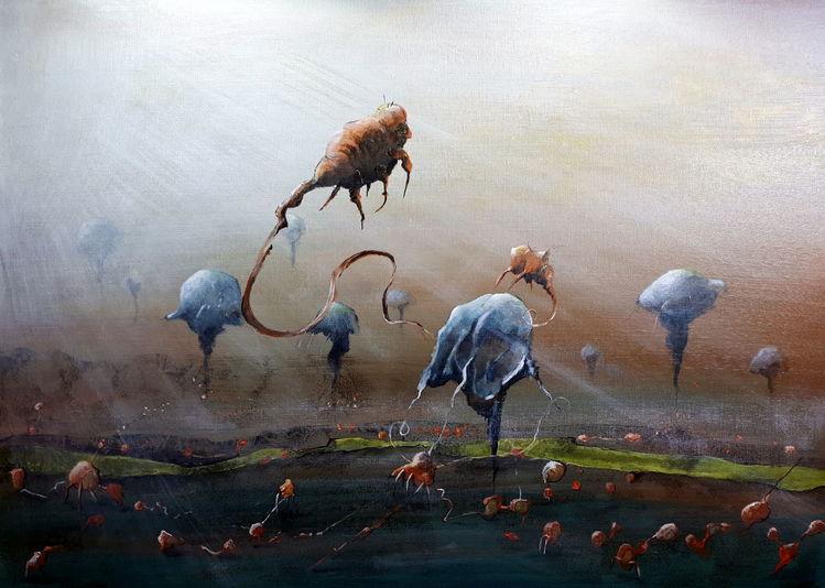 Fantasie, Qualle, Acrylmalerei, Shrimps, Krieg, Malerei