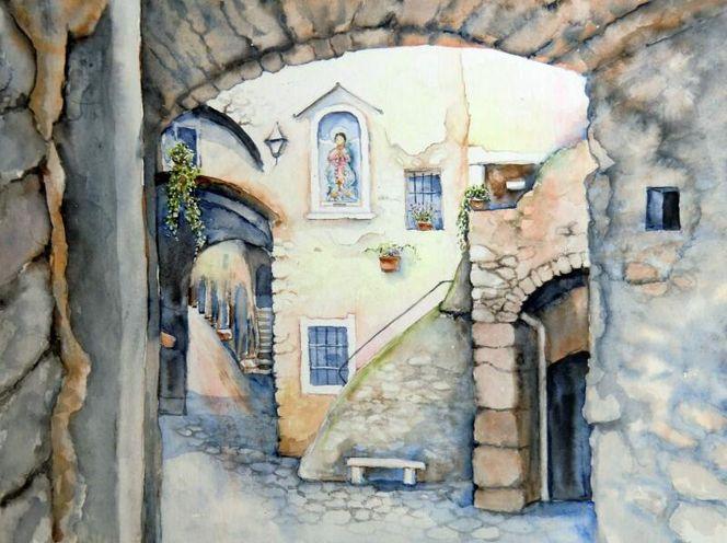 Ortschaft, Gasse, Dolceacqua, Aquarellmalerei, Italien, Haus