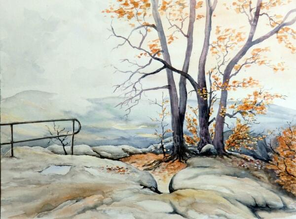 Berge, Aquarellmalerei, Sächsische schweiz, Landschaft, Herbst, Herbstlandschaft