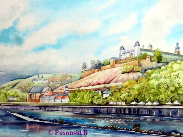 Würzburg, Festung marienberg, Main, Mai, Festung, Aquarellmalerei