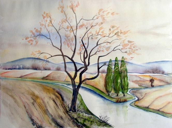 Landschaft, Flusslandschaft, Fluss, Aquarellmalerei, Aquarell, Aquarelle landschaften