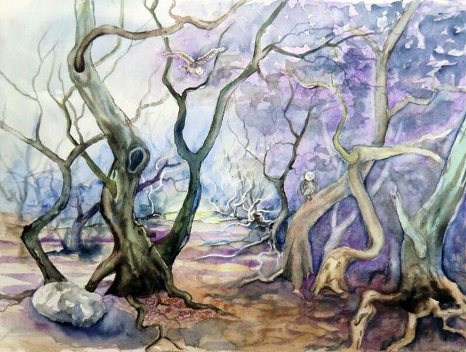 Baum, Mystik, Aquarellmalerei, Wald, Landschaft, Aquarell