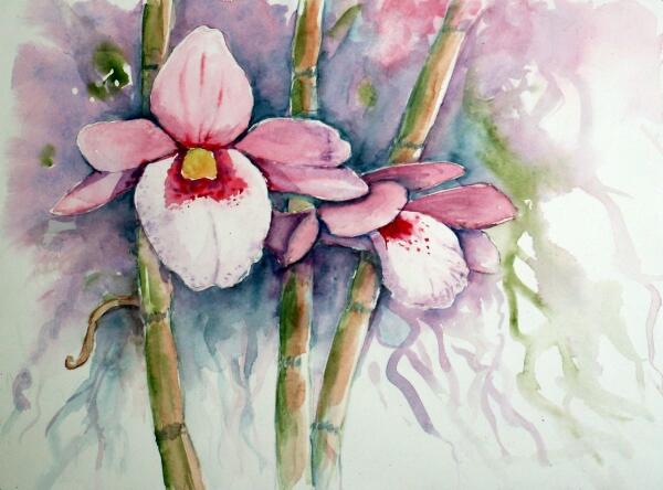 Bild: Orchidee, Blumen, Aquarell von Burkhard Posanski bei KunstNet