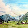 Riesachwasserfälle, Österreich, Tal, Aquarell