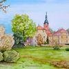 Schloss, Schlosspark, Macher, Aquarell