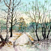 Weg, Aquarellmalerei, Winter, Winterlandschaft