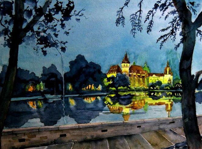 Aquarellmalerei, Schloss, Landschaft, Budapest, Haus, Aquarell