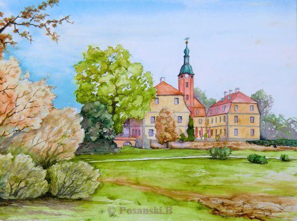 Macher, Schloss, Schlosspark, Aquarell