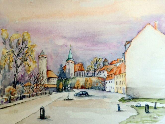 Stadt, Häuser, Aquarellmalerei, Bautzen, Landschaft, Herbst