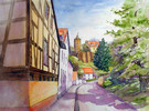 Schönburg, Haus, Aquarellmalerei, Landschaft