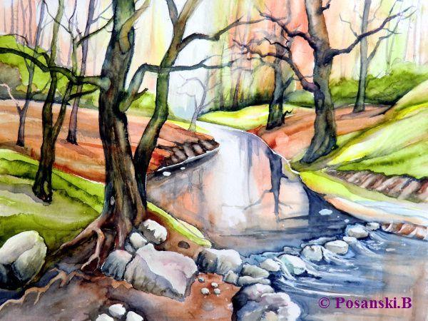 Waldbach, Wald, Landschaft, Bach, Aquarell