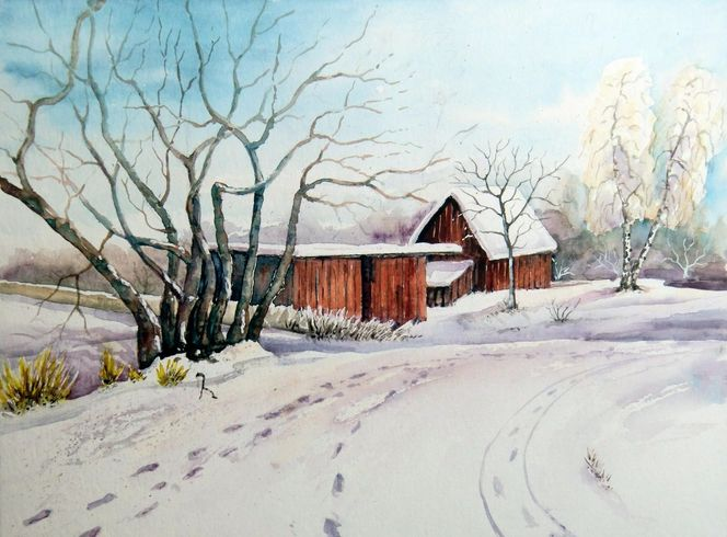 Winterlandschaft, Winter, Kleinpösna, Aquarell