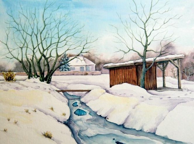 Winterlandschaft, Winter, Kleinpösna, Aquarell