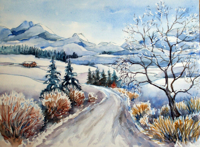 Landschaft, Winter, Aquarellmalerei, Aquarell, Pinwand, Winterlandschaft