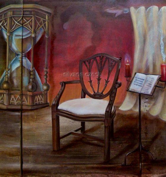Uhr, Pastellmalerei, Vernunft, Spiegelschrift, Berge, Sanduhr